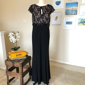 ELIZA J black floor length evening gown with lace